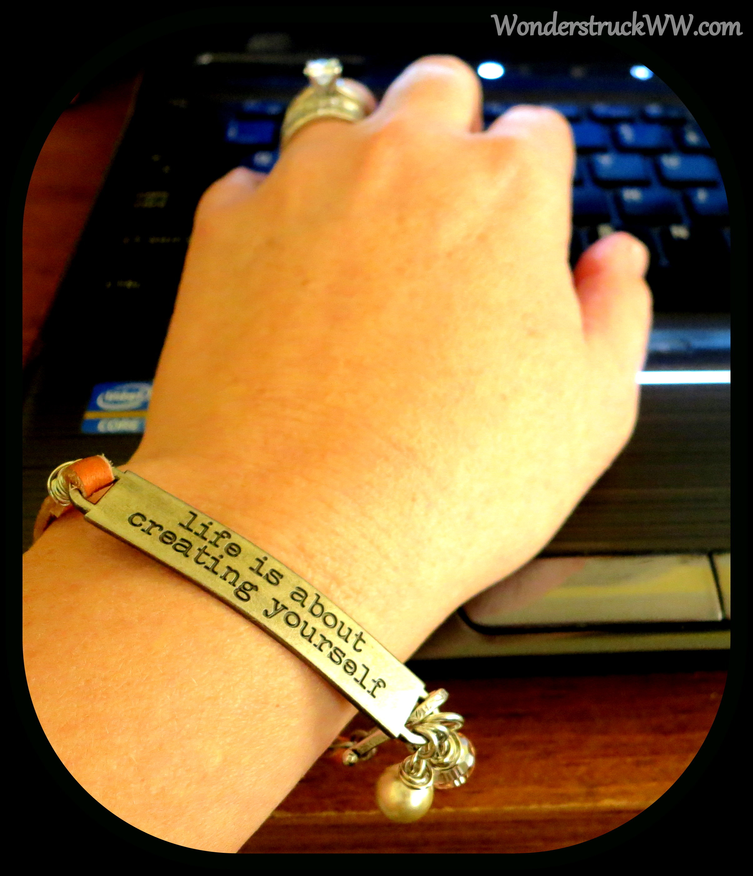 """life is about creating yourself"" quote bracelet from Bel Monili"
