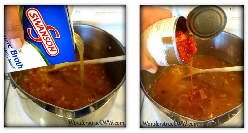 add the broth and diced tomatoes