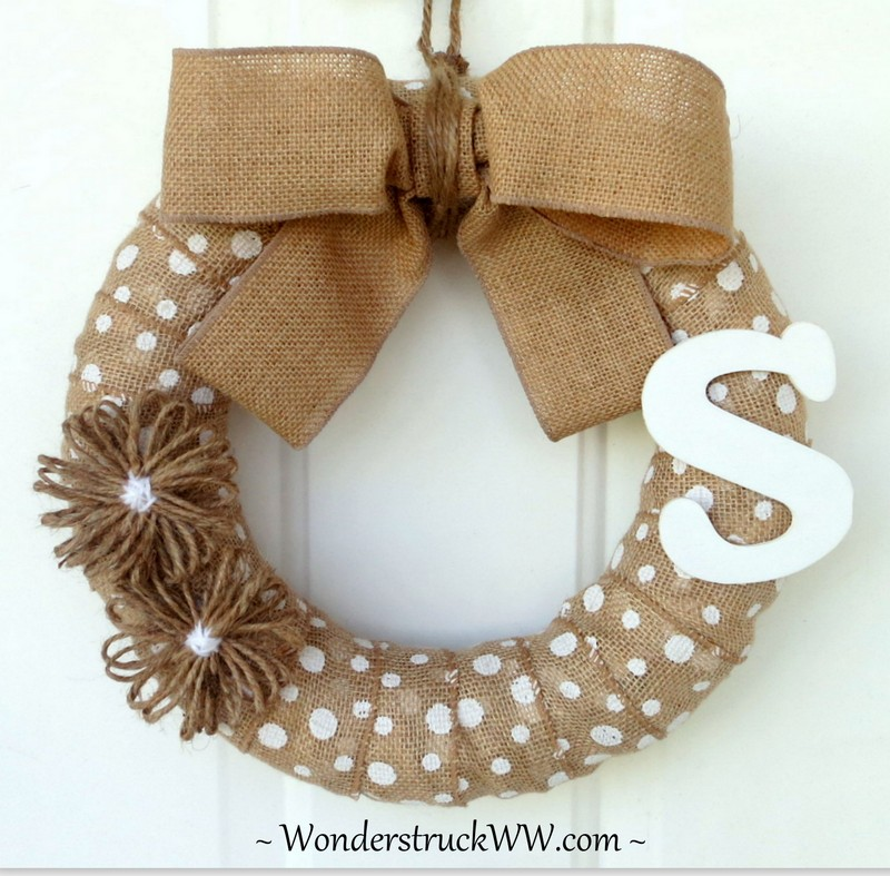 White Polka-Dot Wreath with Initial of Your Choice from www.WeddingsAndWreaths.etsy.com