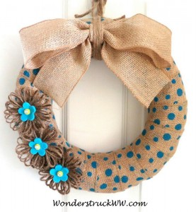 Spring 2014 Giveaway – Turquoise Polka Dot Burlap Wreath