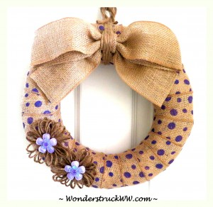 Purple Polka Dot Party – Enter to WIN a 12-Inch Purple Polka Dot Burlap Wreath