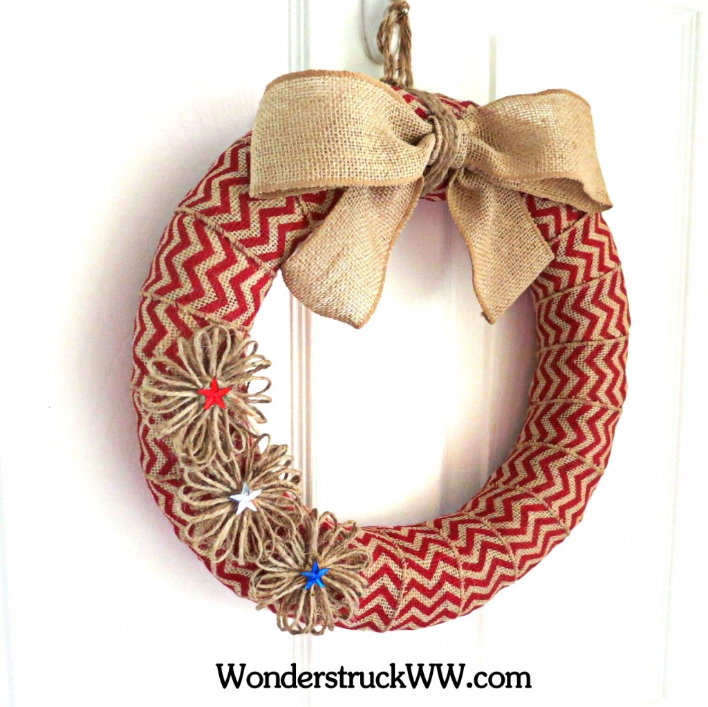 GIVEAWAY- 14-Inch Red Chevron Patriotic Wreath